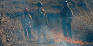 Image of three person prescribed burn crew.