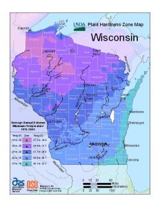 Plant hardiness zone map of Wisconsin