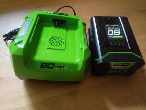 Image of 80 volt battery and charger
