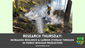 Image of wildland firefighter with backpack can monitoring brush pile as off screen fire hose shoots a stream or water on the brush pile extinguishing it.